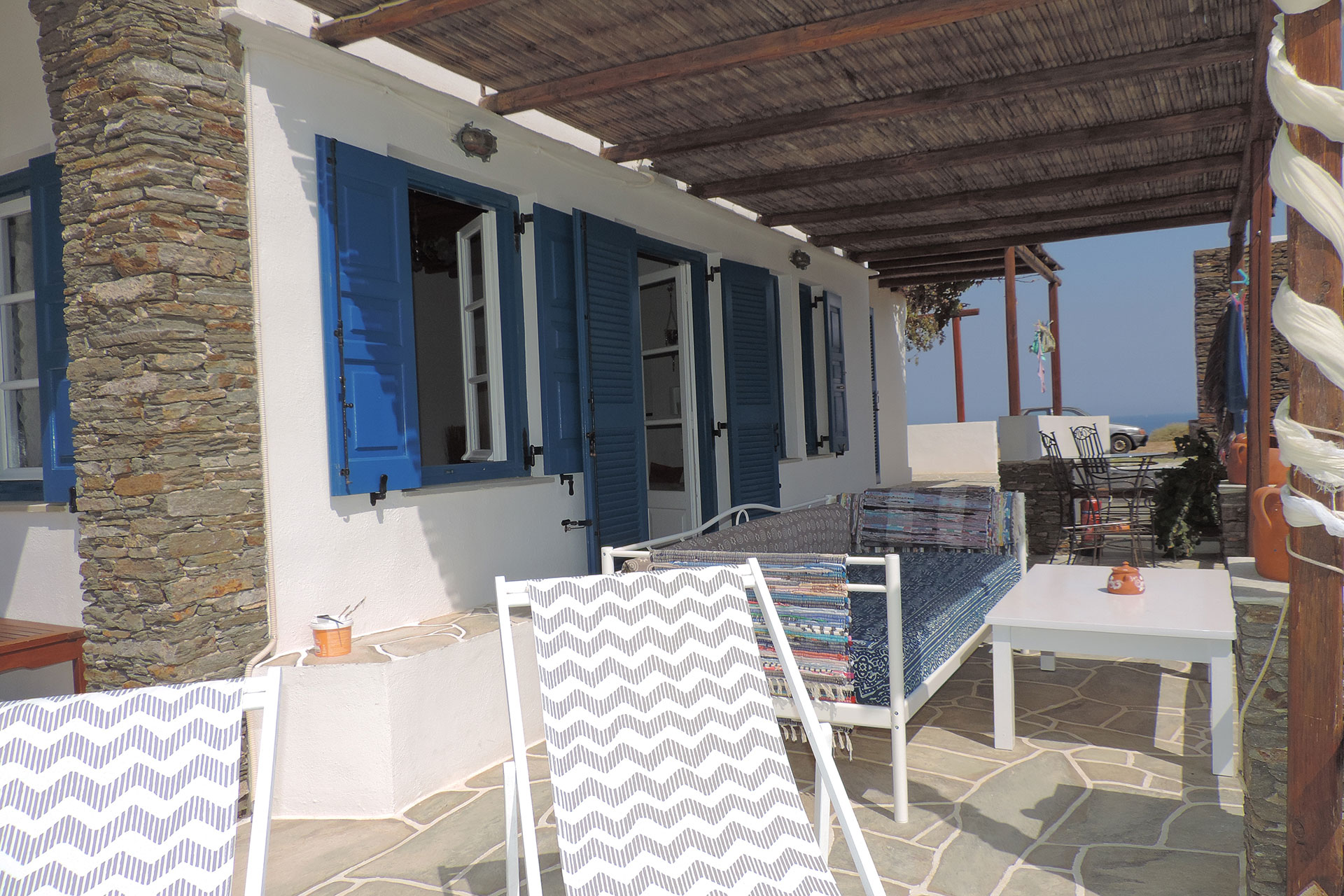The patio of Elia family house at Kavos